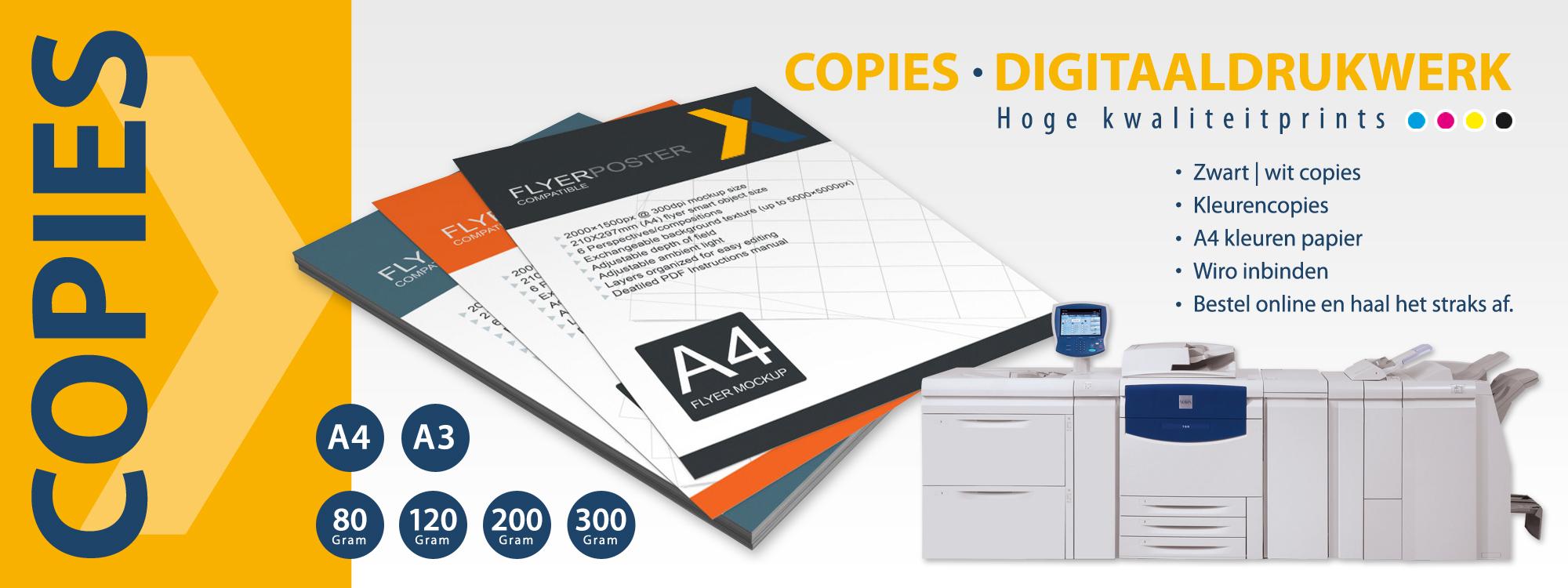 Copies, kleurencopies, zwart-wit copies, copies van hoge kwaliteit, digitaal drukwerk.